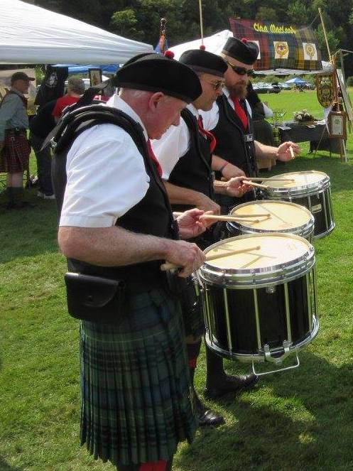 The snare drummers of the Highland Light performing in the higland games in Vermont.